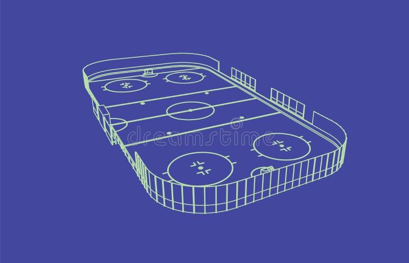 Ishockeyisbana royaltyfri illustrationer
