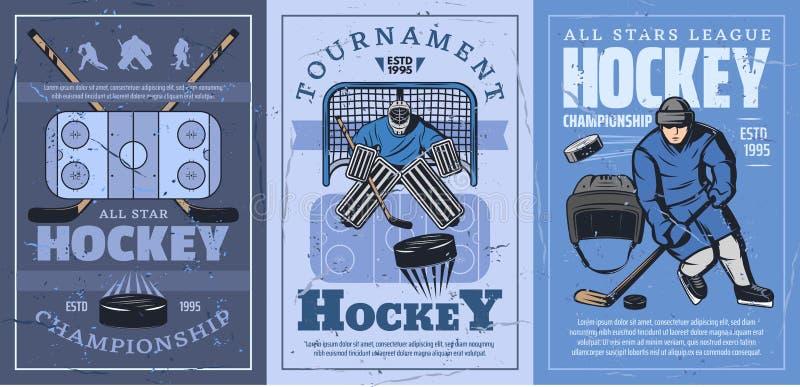 Ishockeyisbana, pinnar, puckar, sportspelare, port vektor illustrationer