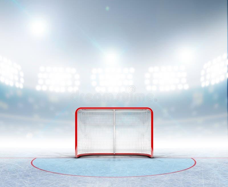 Ishockeymål i stadion stock illustrationer