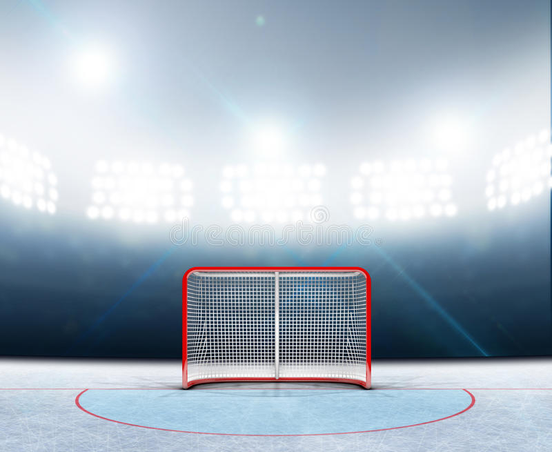 Ishockeymål i stadion royaltyfri illustrationer