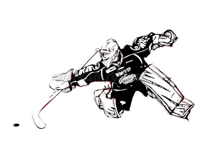 Ishockeymålvakt stock illustrationer