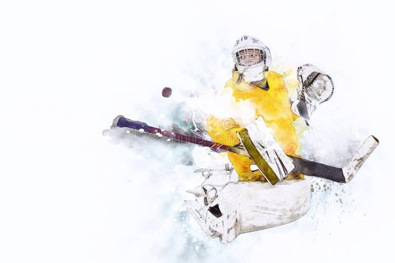 Ishockeym?lvakt vektor illustrationer