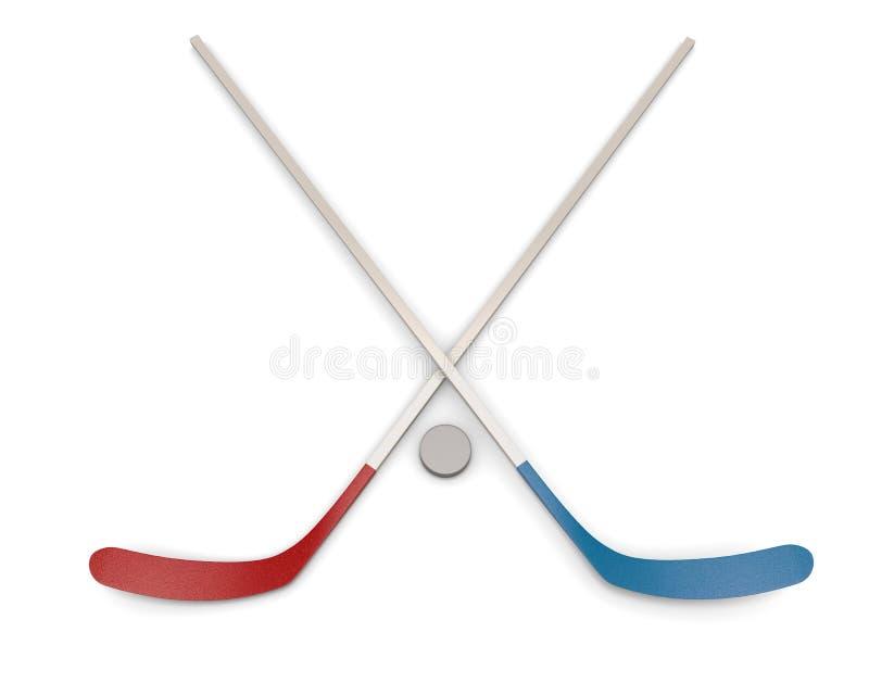 Ishockeypuck och pinnar vektor illustrationer
