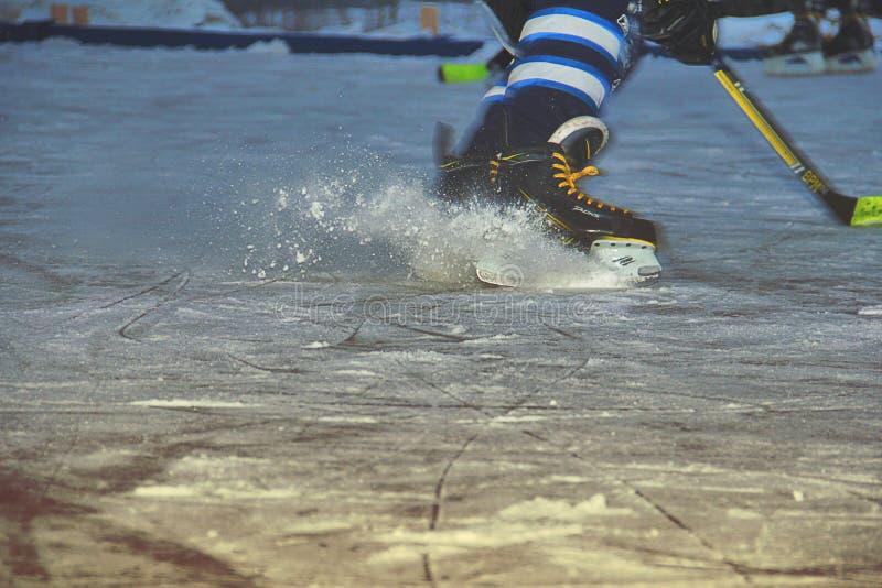 Ishockeyskateboradåkare på isbana royaltyfri fotografi