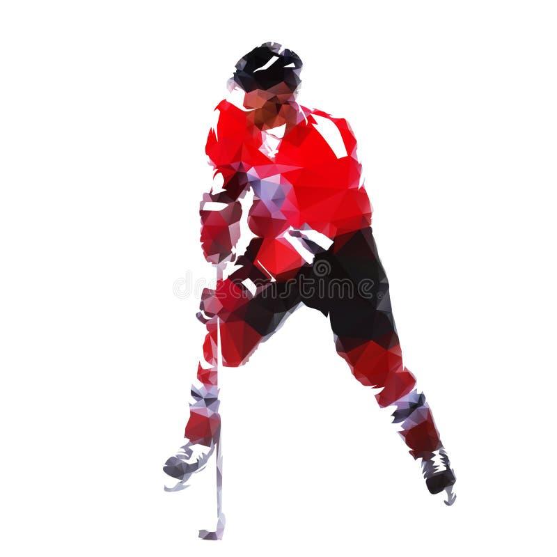 Ishockeyspelare, abstrakt geometrisk polygonal vektorsilhouett stock illustrationer