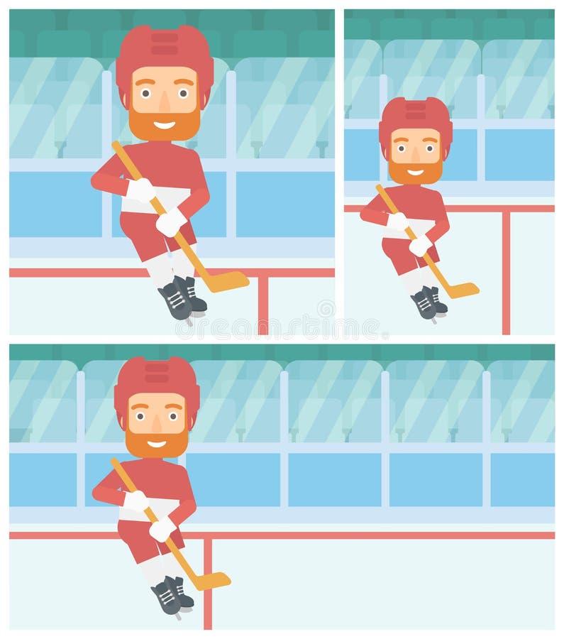 Ishockeyspelare med pinnevektorillustrationen stock illustrationer
