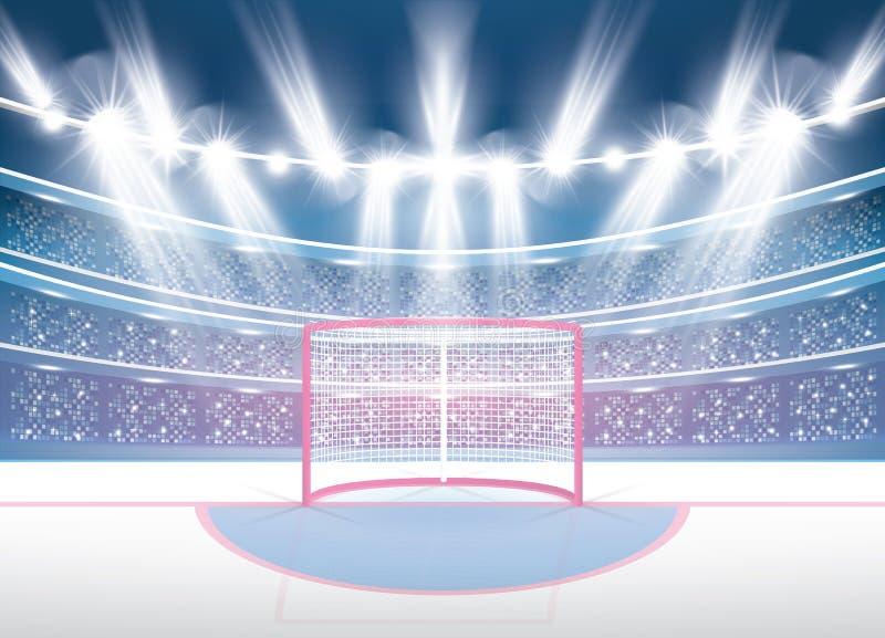 Ishockeystadion med strålkastare och rött mål royaltyfri illustrationer