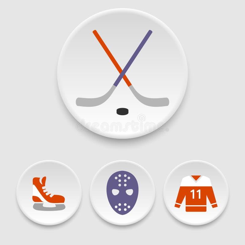 Ishockeysymboler vektor illustrationer