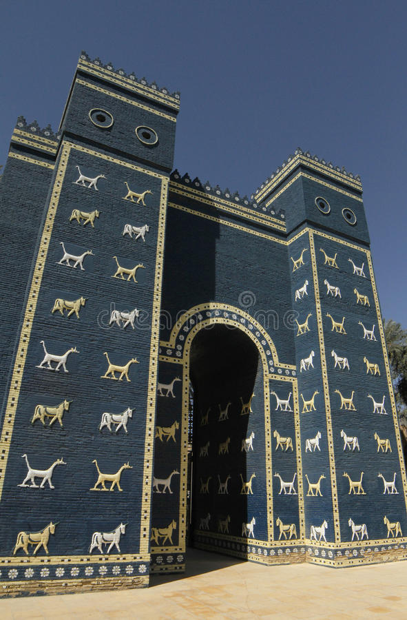 Ishtarpoort in Babylon, Irak stock afbeelding