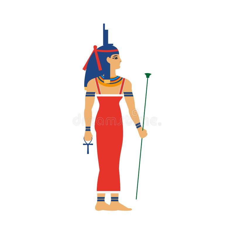 Isis, αρχαία θεά της Αιγύπτου στο θρόνο headdress διανυσματική απεικόνιση