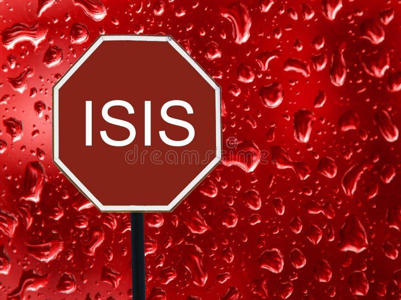 Isis da parada do sinal de estrada e gota vermelha do sangue no vidro fotografia de stock