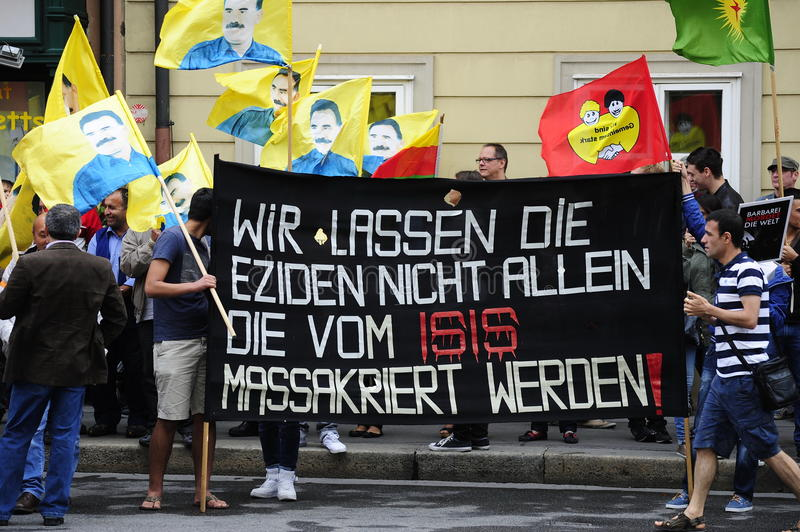 ISIS demonstration against terrorism in Iraq royalty free stock images