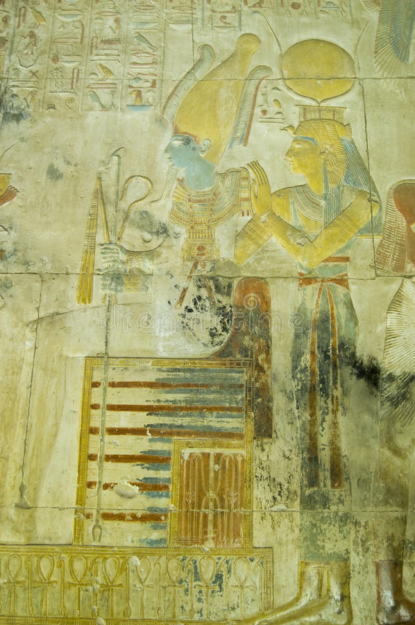 Isis And Osiris Ancient Carving, Abydos Royalty Free Stock Photos