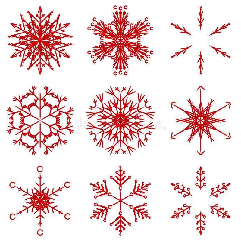 Iskalla abstrakta crystal snöflingor för vektor stock illustrationer