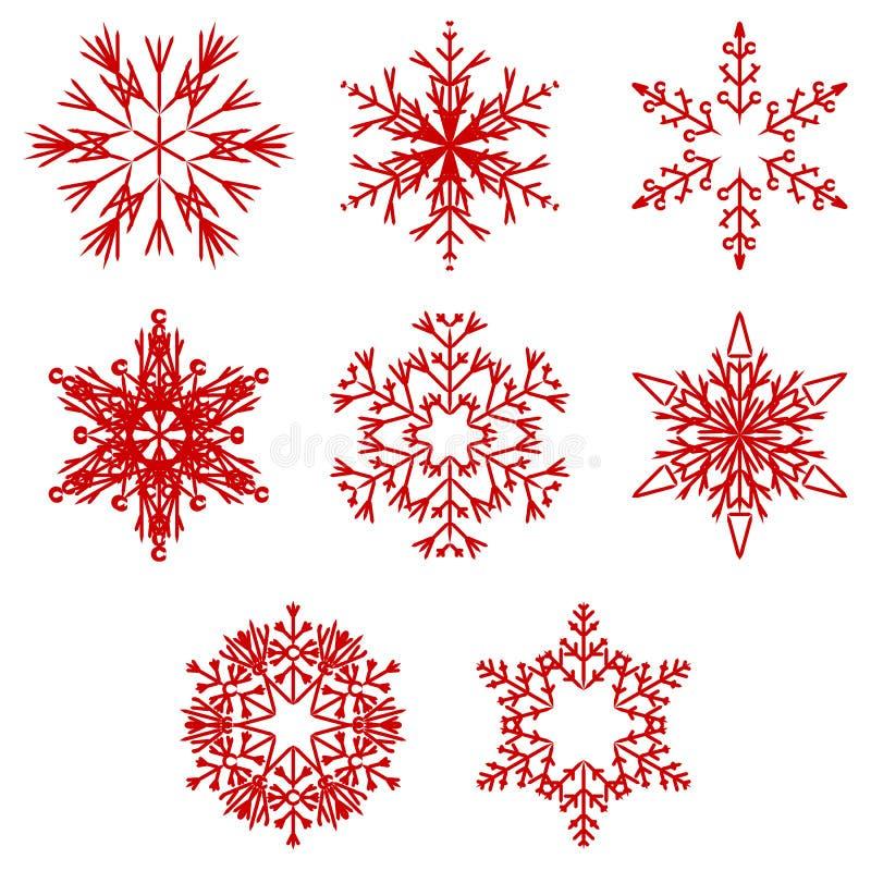 Iskalla abstrakta crystal snöflingor för vektor royaltyfri illustrationer