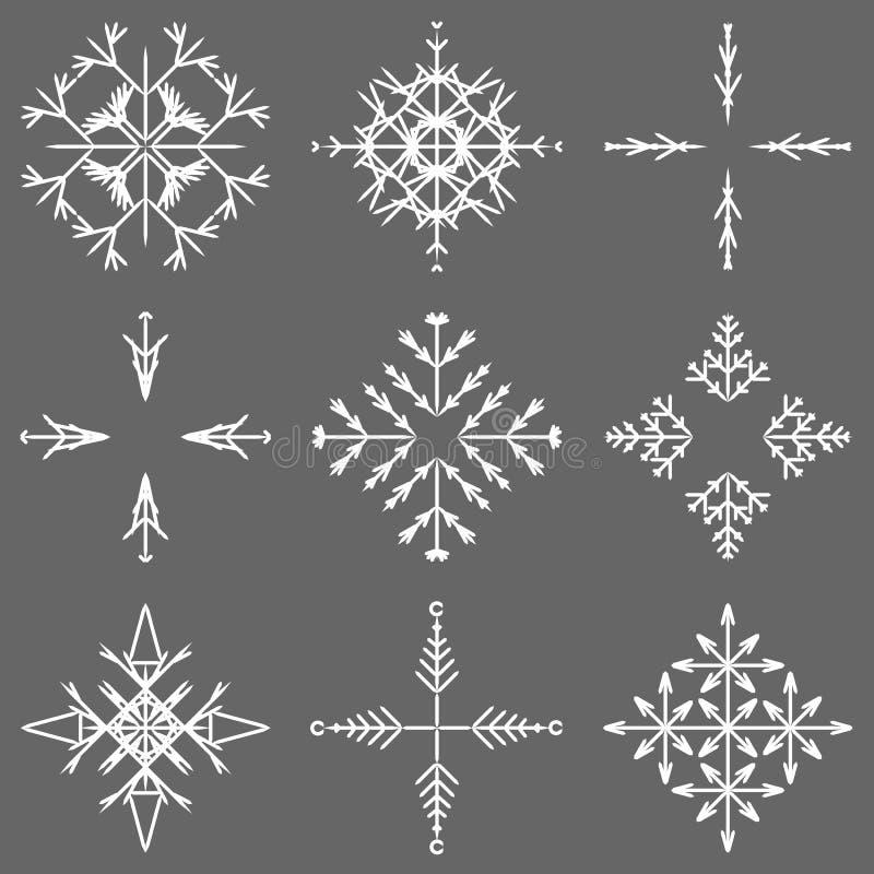 Iskalla abstrakta crystal snöflingor för vektor vektor illustrationer