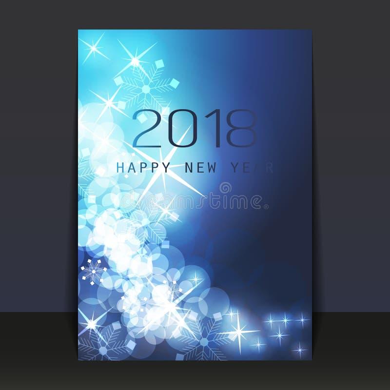 Iskalla blått smattrade den skimrande kort-, reklamblad- eller räkningsdesignen för nytt år stock illustrationer
