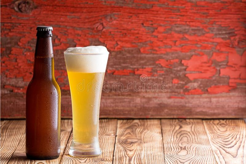 Iskallt skummigt ljust öl i ett långt exponeringsglas royaltyfri bild