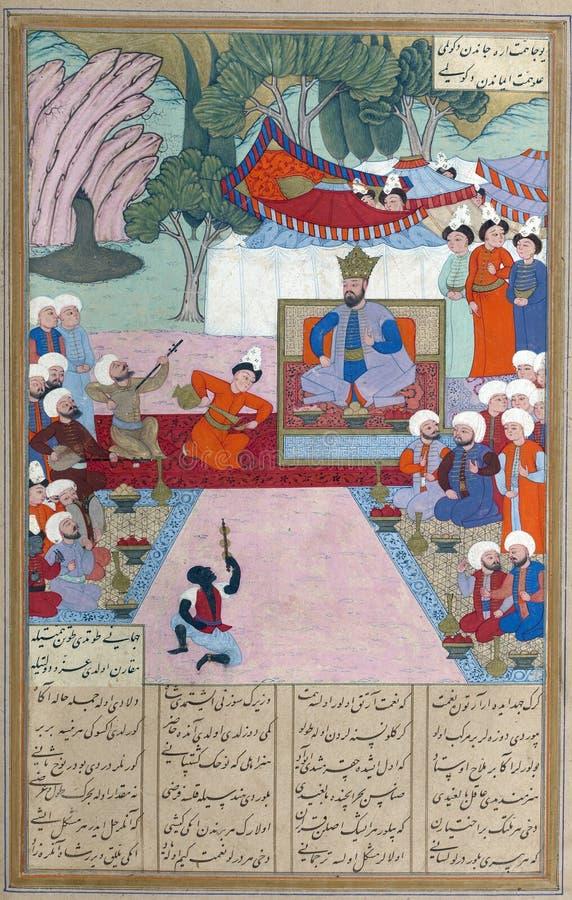 Iskandar détendant dans son camp illustration de vecteur