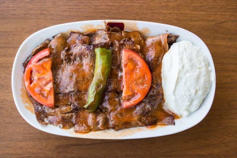 Iskender/土耳其传统食物 免版税图库摄影