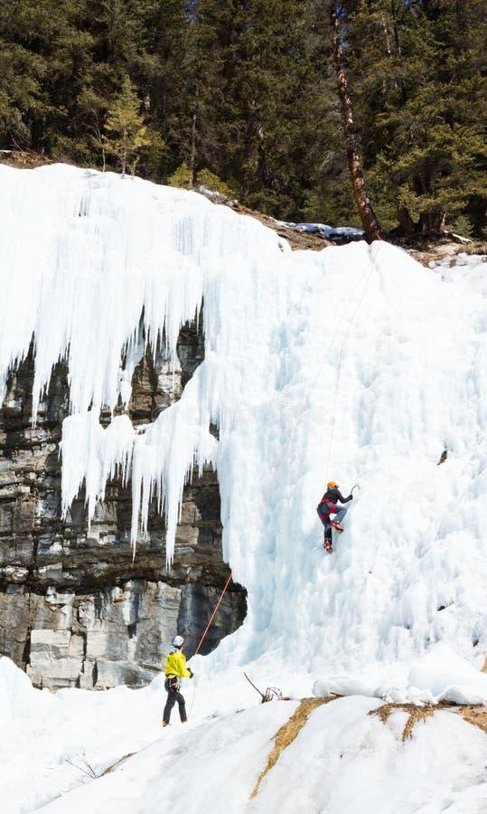 Isklättring i Banff Kanada arkivbilder