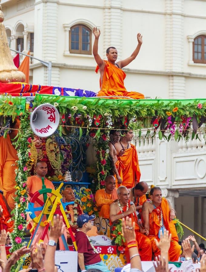 Iskon Rath Yatra at Kolkata. Rathayatra processions have been historically common in Vishnu-related Jagannath, Rama, Krishna traditions in Hinduism across India royalty free stock photo
