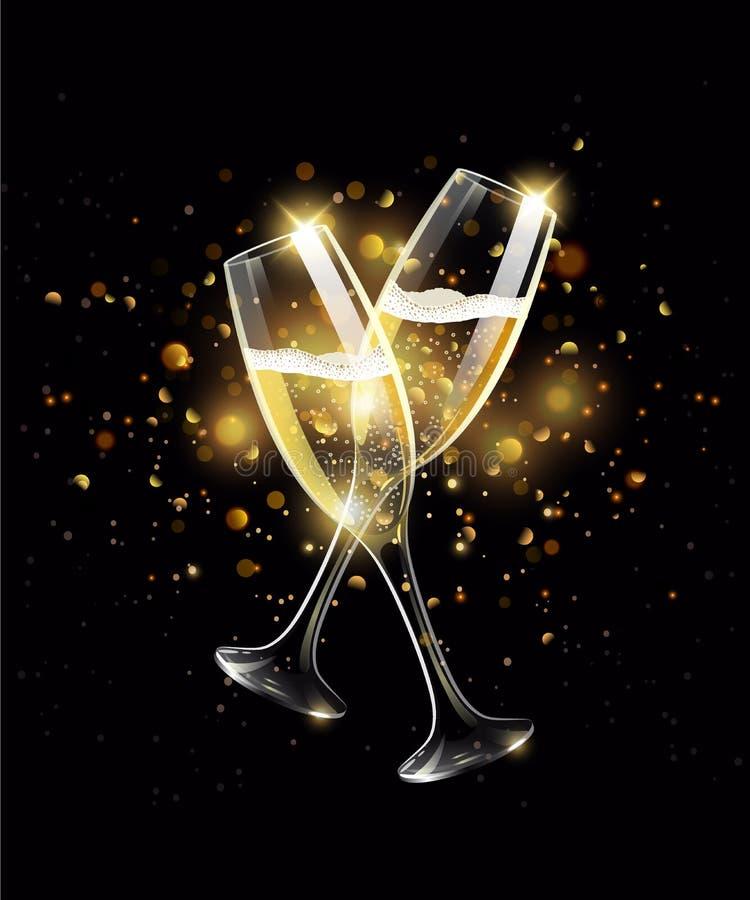 Iskrzaści szkła szampan na czarnym tle, bokeh skutek royalty ilustracja