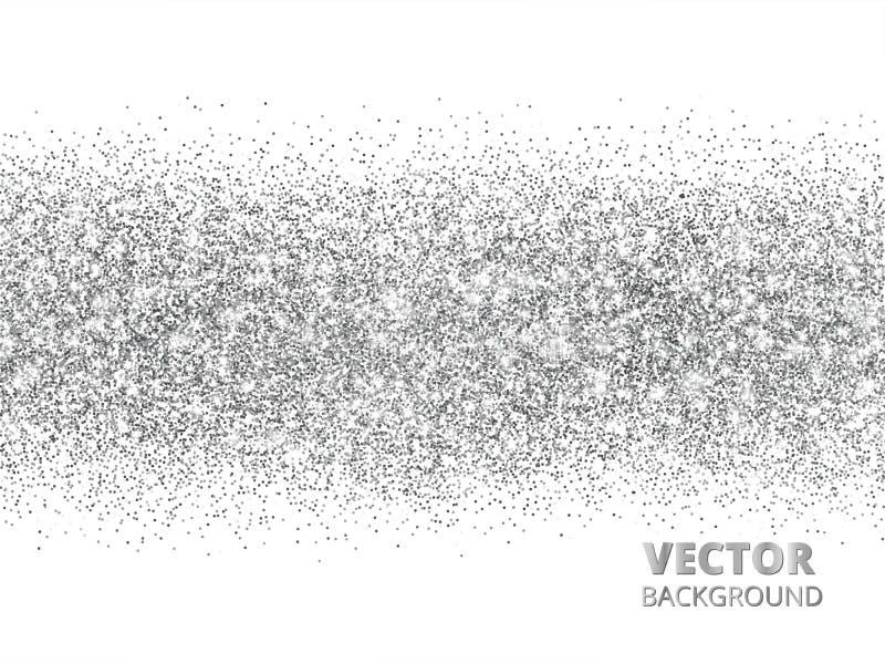 Iskrzasta błyskotliwości granica odizolowywająca na bielu Srebny prostokąt błyskotliwość confetti, wektorowy pył ilustracja wektor