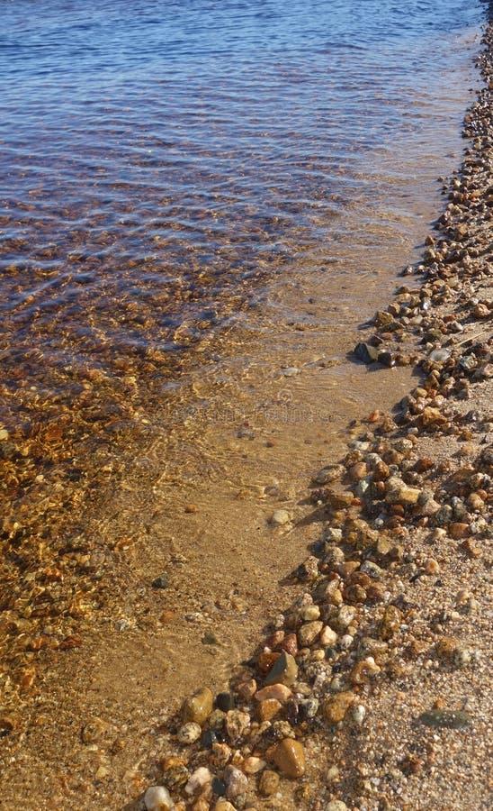 Iskrzasta czysta Maine jeziorna linia brzegowa z skałami pokazuje przez wody zdjęcia royalty free