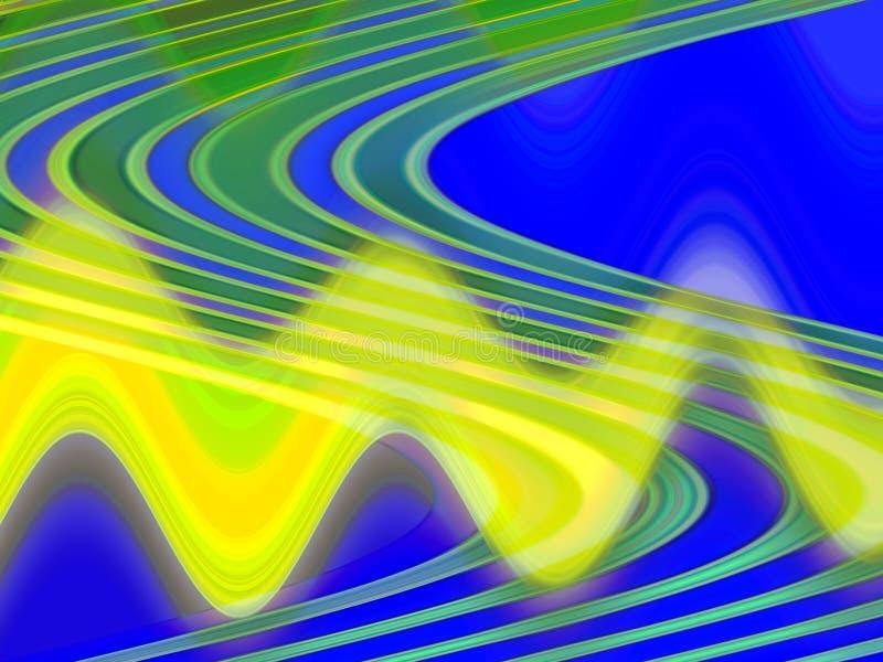 Iskrzaste żółte błękitne zielone liny, światła, geometrii tło, grafika, abstrakcjonistyczny tło i tekstura, ilustracji