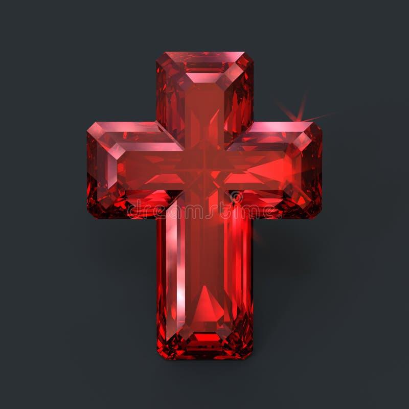 Iskrzastego rubinowego czerwonego krzyża święty świecenie ilustracja wektor