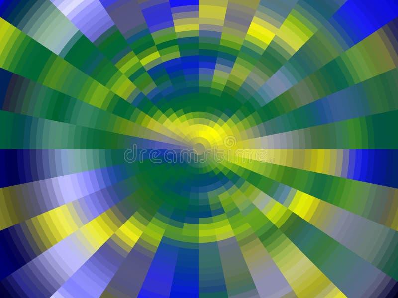 Iskrzasty kółkowy złocisty zielonej liny tło, grafika, abstrakcjonistyczny tło i tekstura, royalty ilustracja