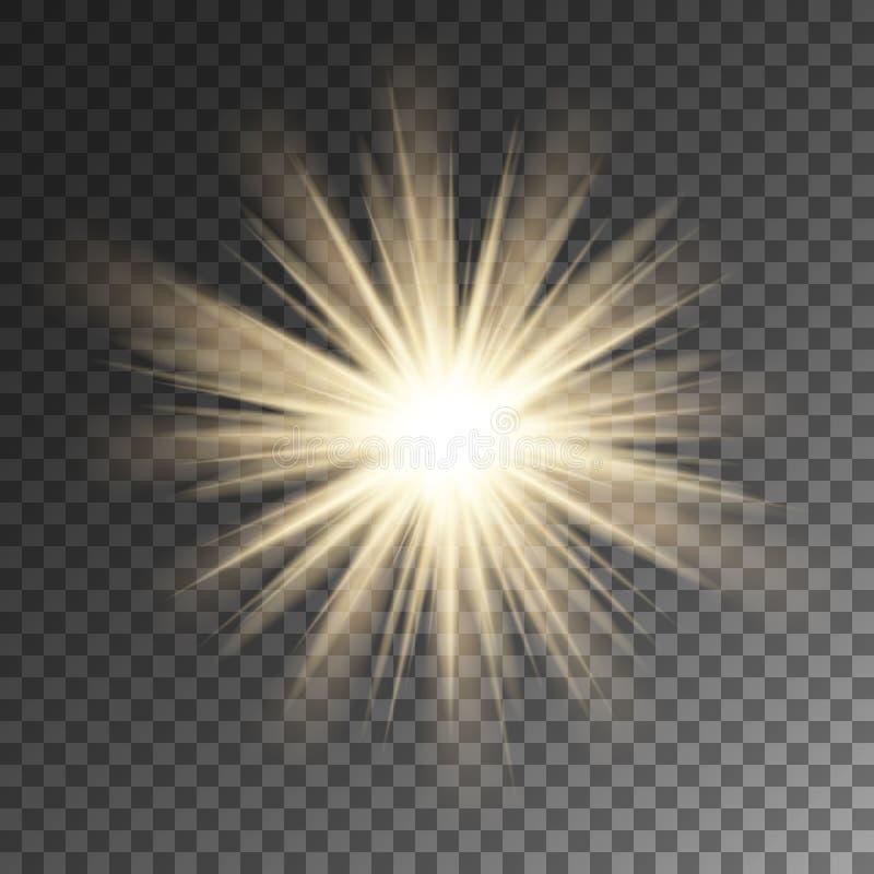 Iskrzasty słońce promieni gwiazdy raca Błyskotanie na wektorowym tle royalty ilustracja