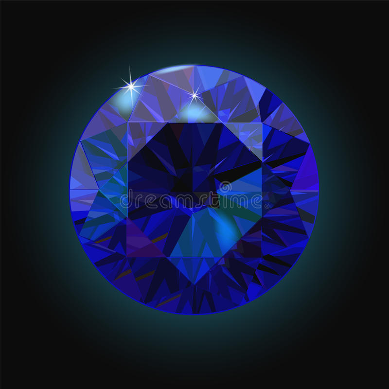 Iskrzasty szafir na czarnym tle Zmrok - błękitny kryształ wektor ilustracja wektor