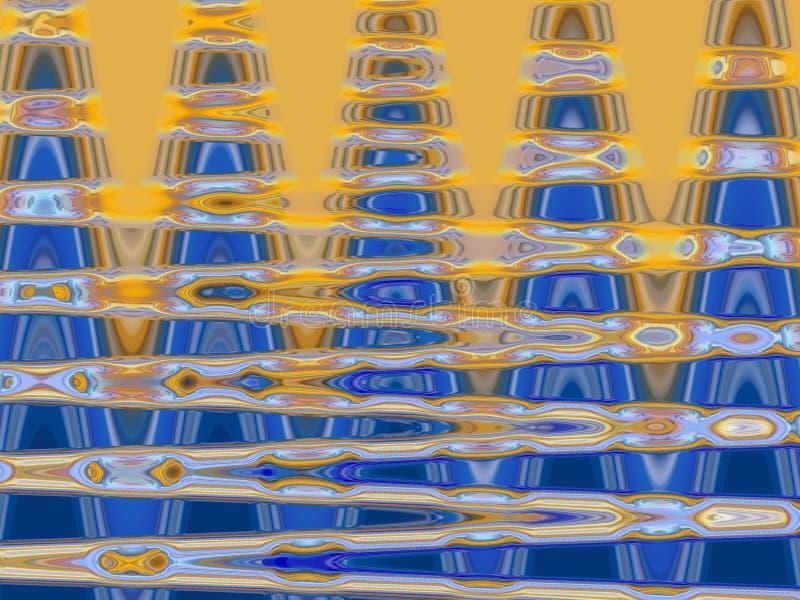 Iskrzasty złocisty błękit macha geometrii tło, grafika, abstrakcjonistycznego tło i teksturę, ilustracja wektor