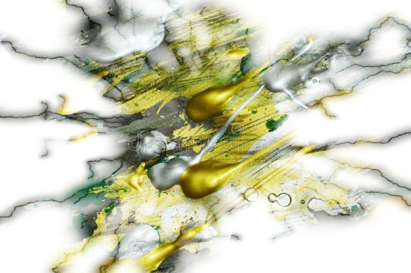 Iskrzasty złocisty tło fluidu muśnięcia uderzenia maluje Akwareli farby abstrakta tło zdjęcia royalty free