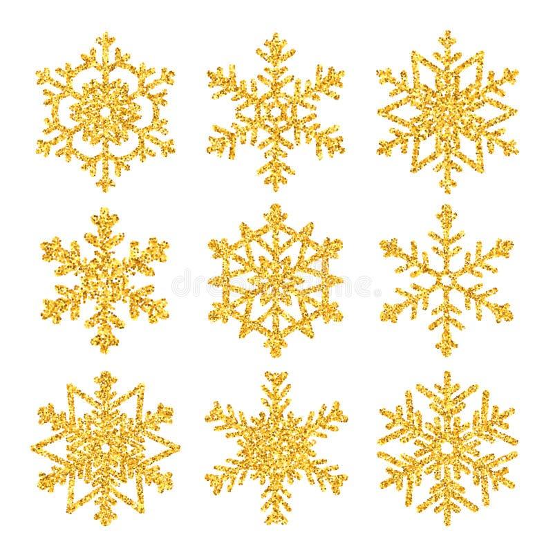 Iskrzasty złoty płatek śniegu ustawiający z błyskotliwości teksturą dla bożych narodzeń odizolowywających na białym tle witamy w  ilustracja wektor