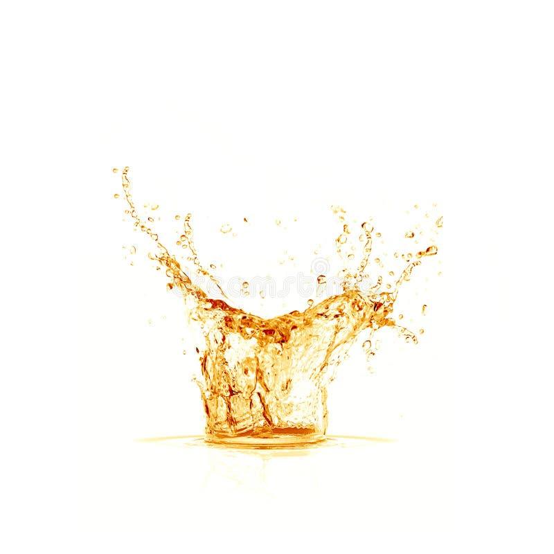 Iskuben faller in i exponeringsglaset royaltyfri fotografi