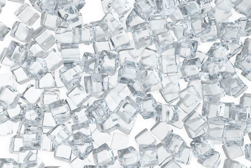 Iskuber bakgrund, hög av vita iskuber framförande 3d vektor illustrationer
