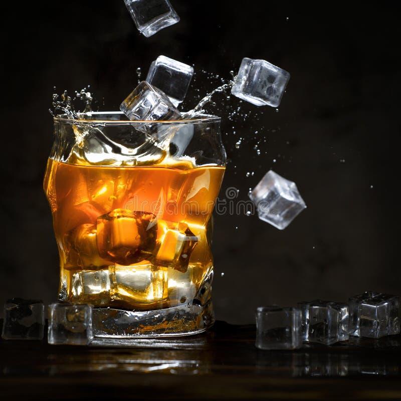 Iskuber häller in i ett exponeringsglas med alkohol arkivfoto