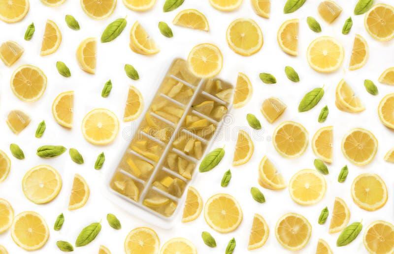 Iskuber med citroner royaltyfri bild