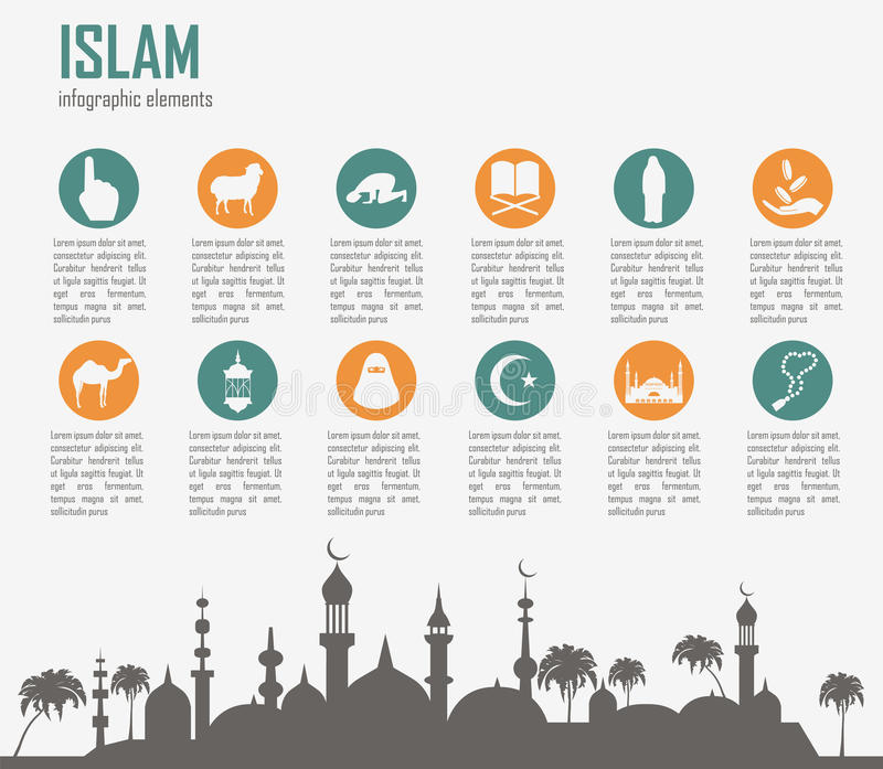 Islã infographic Cultura muçulmana ilustração stock