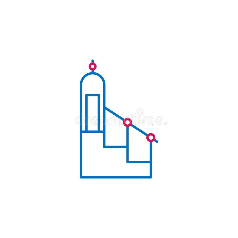 Islã, 2 minbar islâmicos linha colorida ícone Ilustração azul e vermelha simples do elemento Islã, símbolo minbar islâmico do esb ilustração do vetor