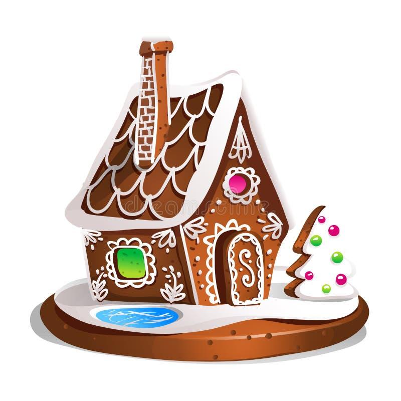 Isläggning och socker för godis för pepparkakahus dekorerat Julkakor, traditionell mat ve för xmas för vinterferie hemlagad bakad royaltyfri illustrationer