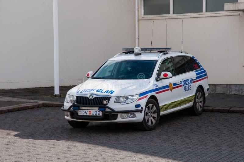 Isländischer Polizeiwagen stockbild
