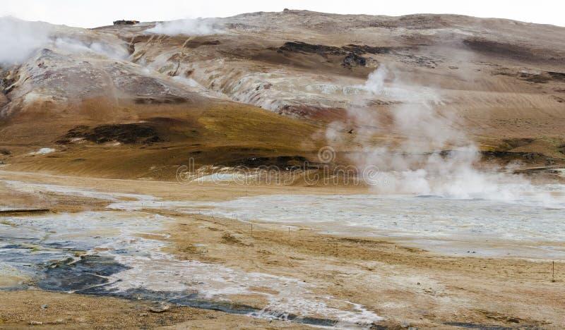 Isländsk geysir i sommar, ånga som går ut ur jordning fotografering för bildbyråer