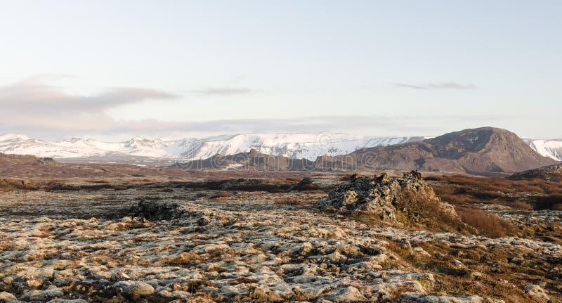 Isländskt landskap, vulkaniskt och härligt arkivbild
