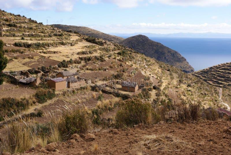 Isla在Titicaca湖,玻利维亚的del sol 免版税图库摄影