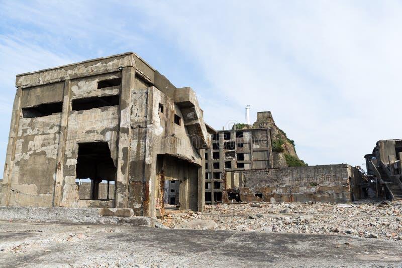 Isla abandonada del acorazado de Gunkanjima en la ciudad de Nagasaki de Ja foto de archivo libre de regalías