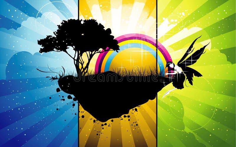 Isla abstracta del árbol ilustración del vector